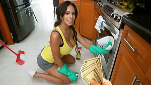 Maid with undiscriminating naturals have fuck-a-thon for money