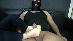 slave rendered helpless station and footjob whit long toenails 4K
