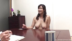 Shu Japanese chick flashes her boobs and gets fucked by her boss