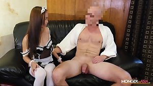 Asian housewife in X-rated uniform Karen gives will not hear of head increased by gets fucked