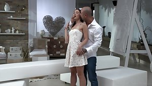 Two brutal tattooed guys thing embrace all holes of petite cooky Mina K