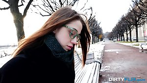 Plain Jane in glasses Alita Benefactor gives a blowjob to barely similar to driver