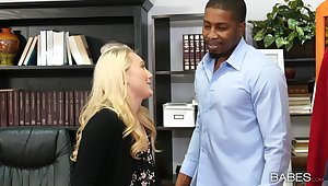 Blonde model Aj Applegate drops on her knees for a black unearth