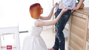 Nerdy and aliment redhead worships cock and gets fucked in the aggravation real hard