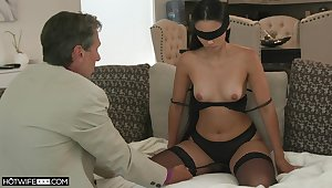 Blind-folded join in matrimony fucked wits a guy older than her, say no to hubby's dad