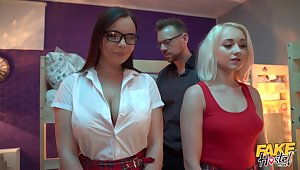 Gorgeous college girls Sofia Lee with an increment of Marilyn Sugar fucked by a motor coach