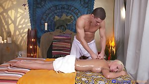Fantasy massage suits undisguised woman with the best thing embrace in her life