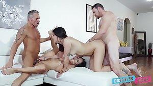 Addictive cam sex in scenes of father-son foursome